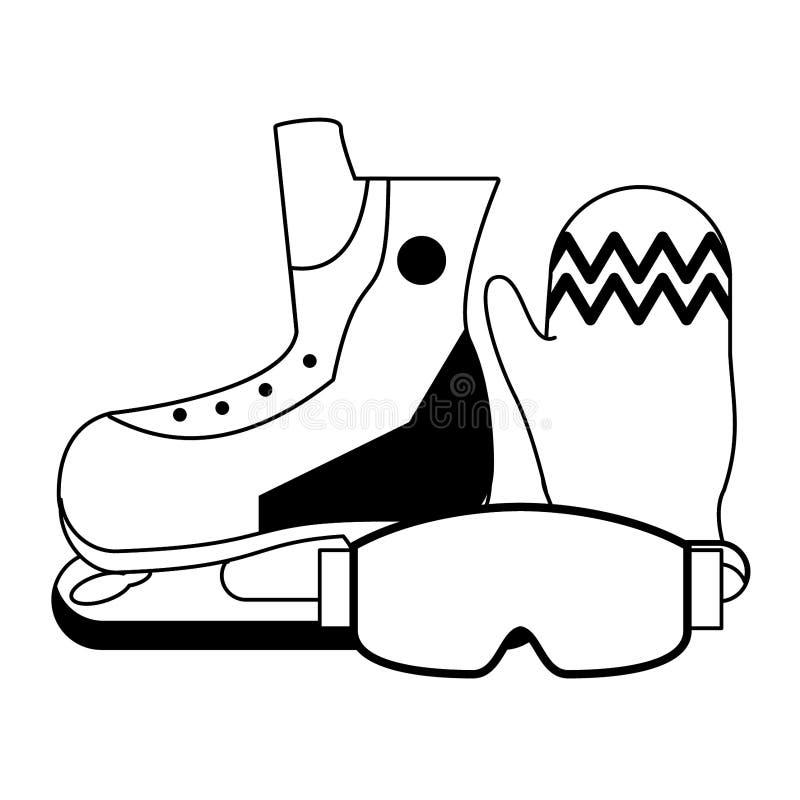 Εξοπλισμός χειμερινού ακραίος αθλητισμού σε γραπτό διανυσματική απεικόνιση