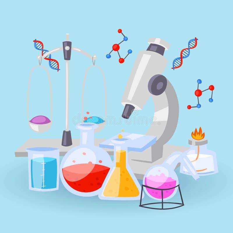 Εξοπλισμός χημείας για τα πειράματα Φιαλίδια, μικροσκόπιο, δοκιμή-σωλήνες με τα αντιδραστήρια και διανυσματικό υπόβαθρο τύπων DNA απεικόνιση αποθεμάτων