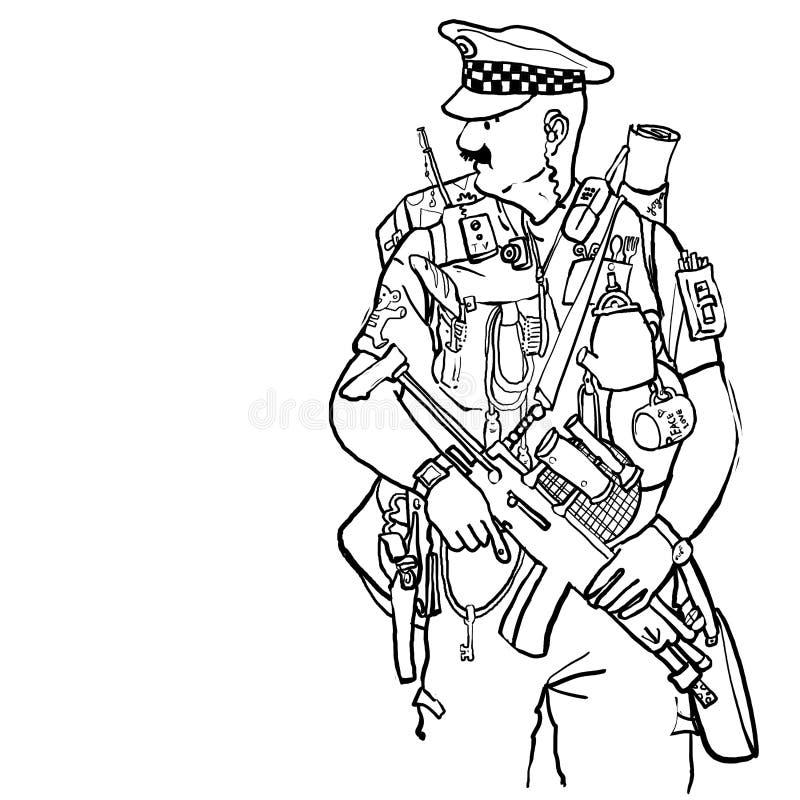 Εξοπλισμένος αστυνομικός απεικόνιση αποθεμάτων