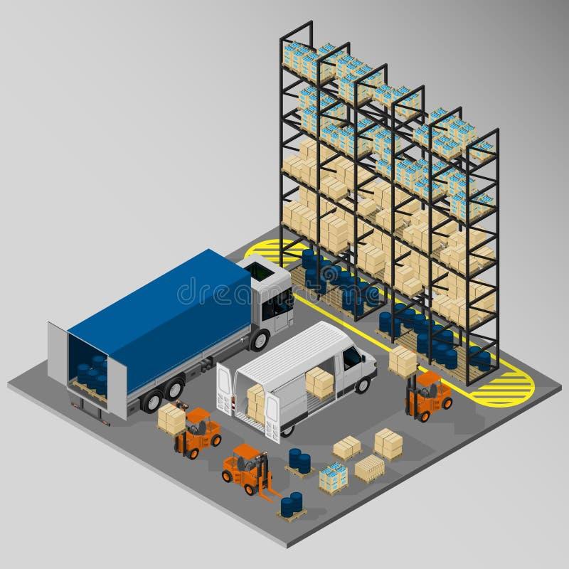 Εξοπλισμός για την παράδοση φορτίου διανυσματική απεικόνιση