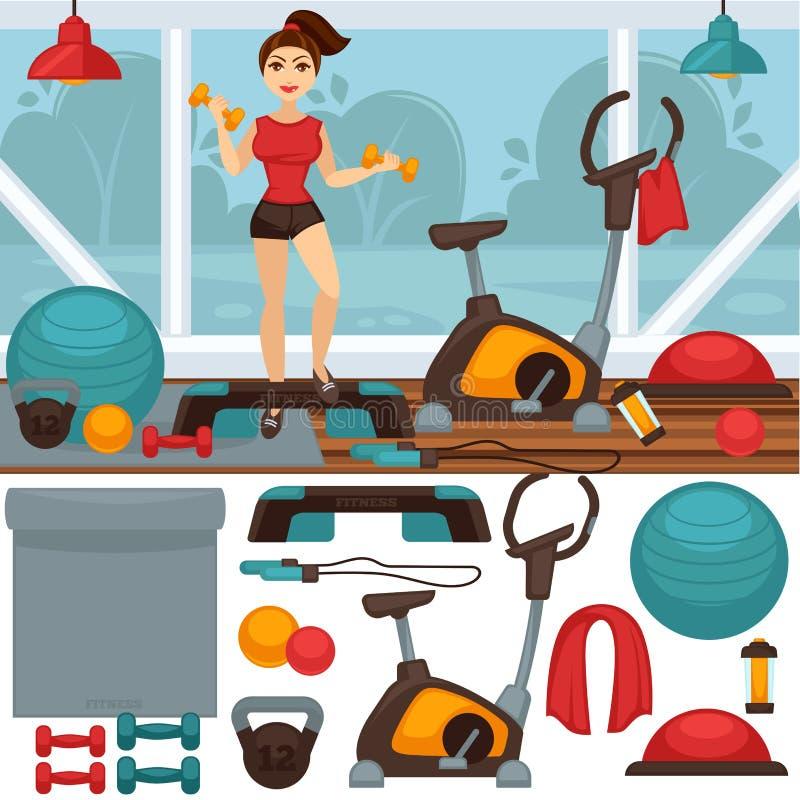 Εξοπλισμός εγχώριας ικανότητας και εσωτερικό γυμναστικής απεικόνιση αποθεμάτων