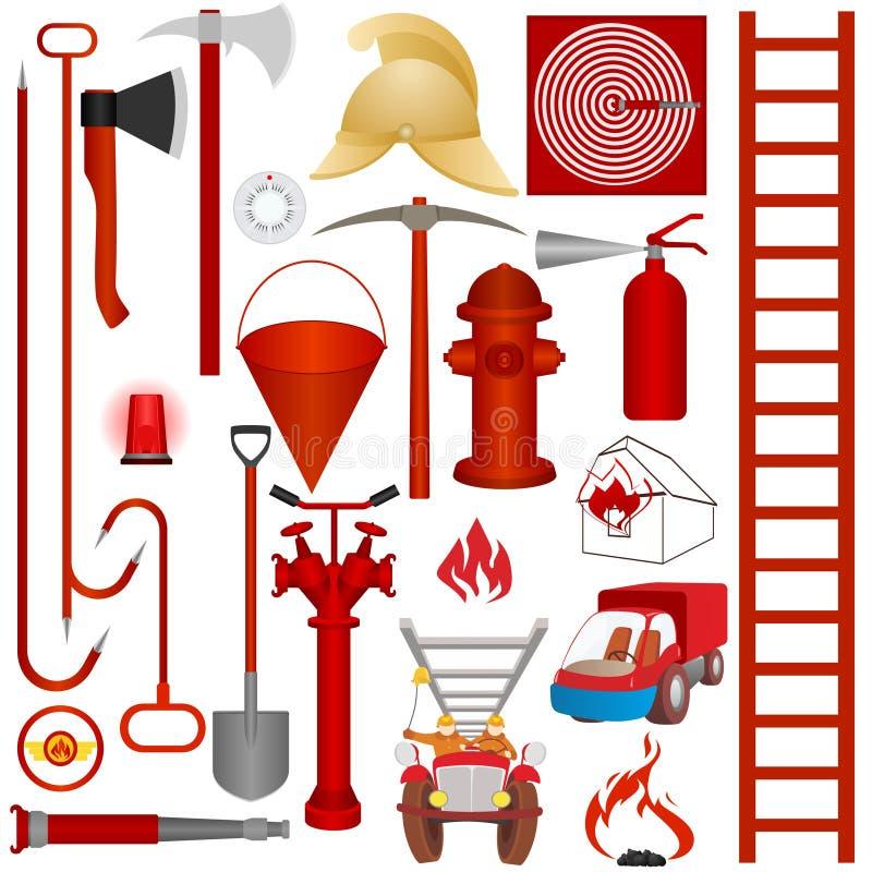 Εξοπλισμός, εργαλεία και εξαρτήματα πυρκαγιάς διανυσματική απεικόνιση