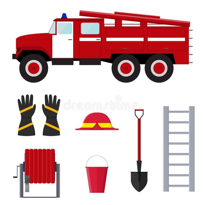 Εξοπλισμός και εργαλεία επαγγέλματος πυροσβεστών διάνυσμα διανυσματική απεικόνιση