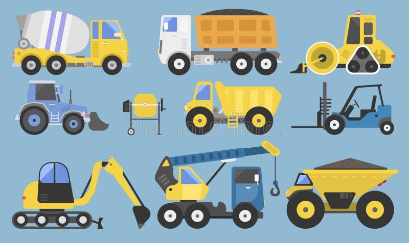 Εξοπλισμός και μηχανήματα κατασκευής με φορτηγών γερανών διανυσματική απεικόνιση μεταφορών εκσακαφέων την επίπεδη κίτρινη διανυσματική απεικόνιση