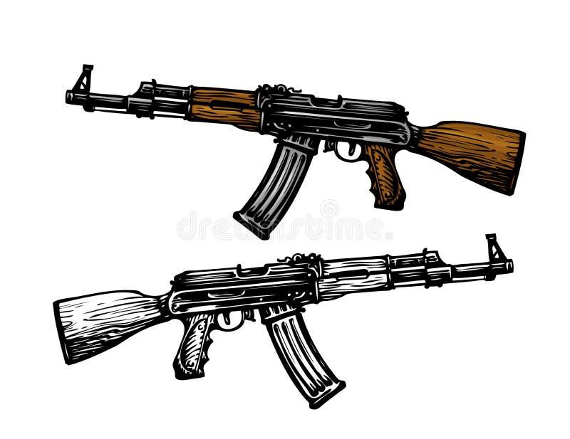 Εξοπλισμός, σύμβολο εξοπλισμών Αυτόματη μηχανή AK 47 Επιθετικό τουφέκι καλάζνικοφ, σκίτσο επίσης corel σύρετε το διάνυσμα απεικόν ελεύθερη απεικόνιση δικαιώματος