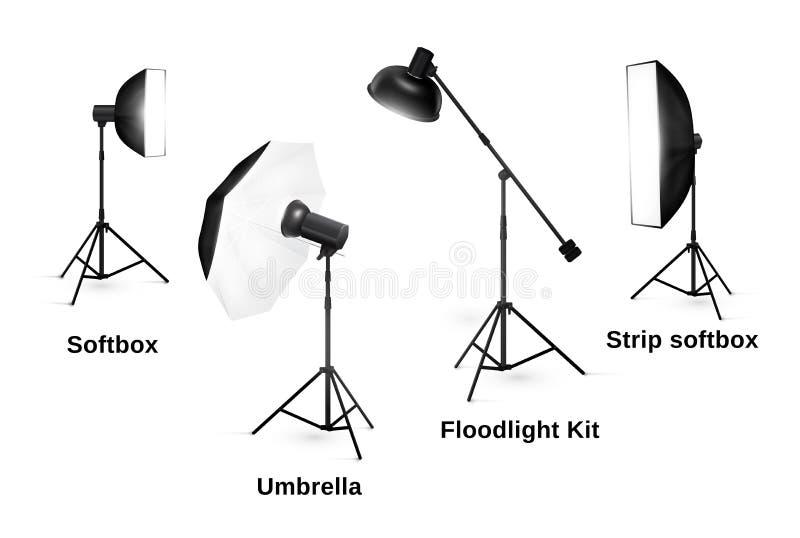 Εξοπλισμός φωτισμού στούντιο στο λευκό απεικόνιση αποθεμάτων