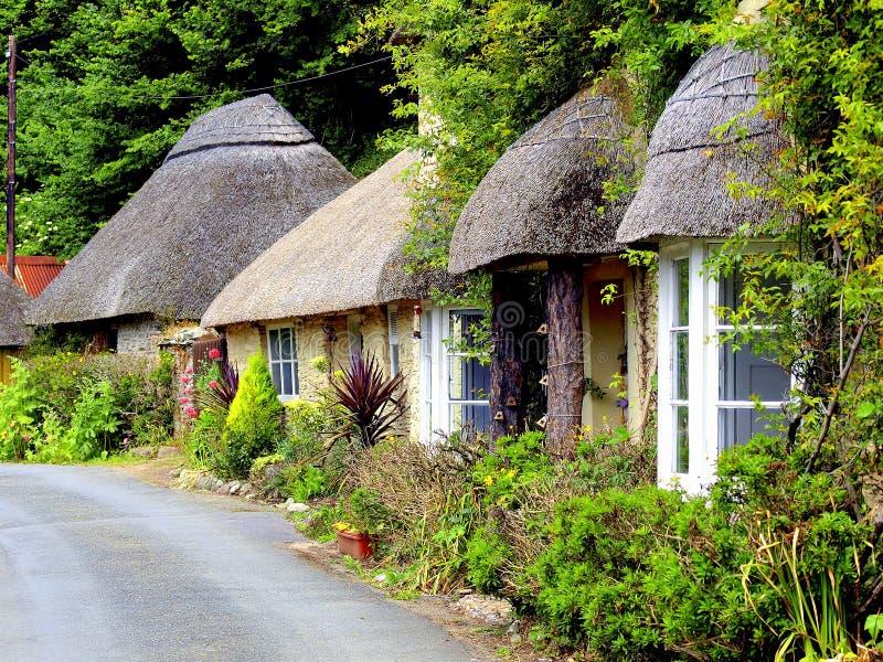 Εξοχικά σπίτια Thatched, νότος Devon. στοκ εικόνες