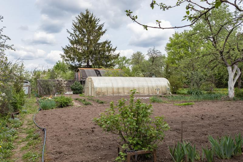 Εξοχικό σπίτι, θερμοκήπιο με το καλλιεργημένο έδαφος που περιβάλλεται από την πρασινάδα την άνοιξη στη Ρωσία Ρωσικό dacha στοκ εικόνες
