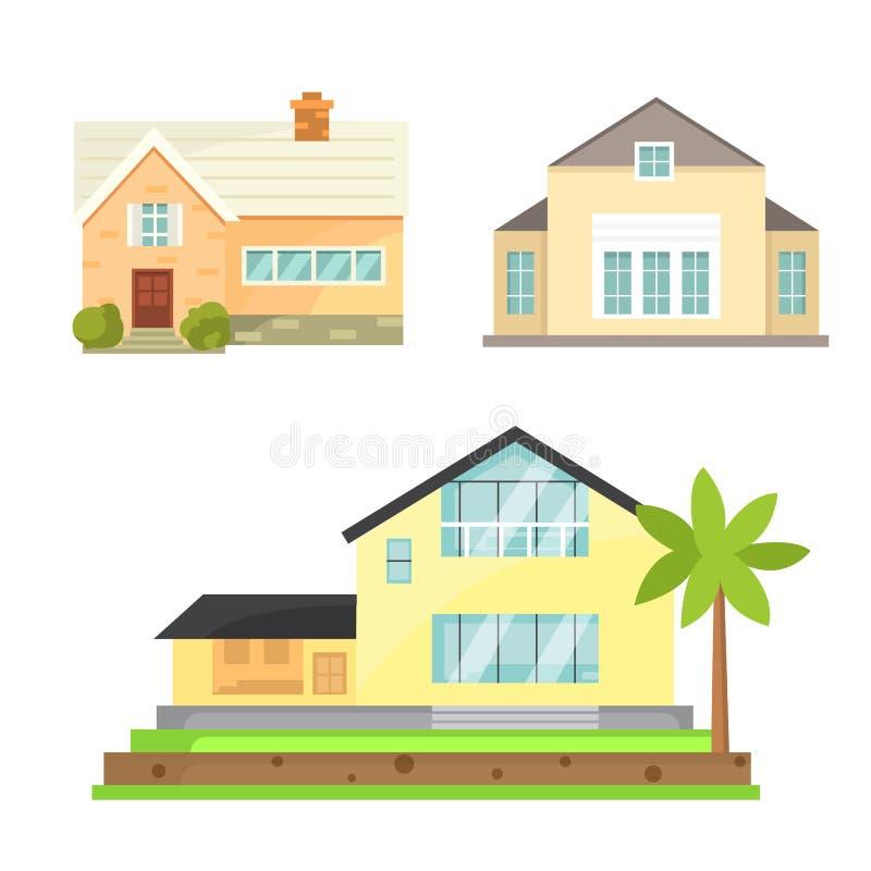 Εξοχικό σπίτι και ανάμεικτα εικονίδια οικοδόμησης ακίνητων περιουσιών Κατοικημένη συλλογή σπιτιών στο νέο ύφος κινούμενων σχεδίων διανυσματική απεικόνιση