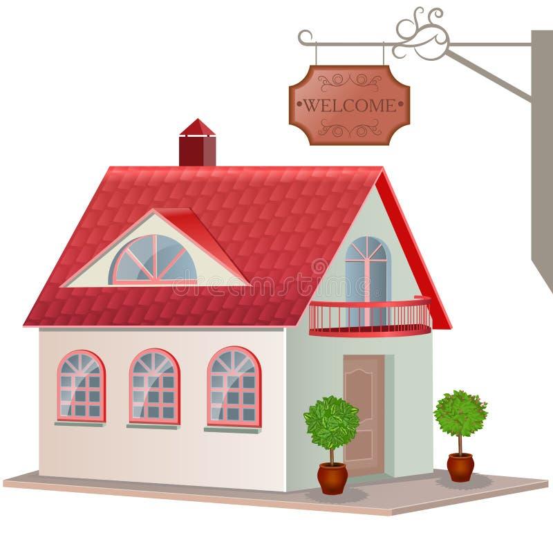 Εξοχικό σπίτι που απομονώνεται στο άσπρο υπόβαθρο. ελεύθερη απεικόνιση δικαιώματος
