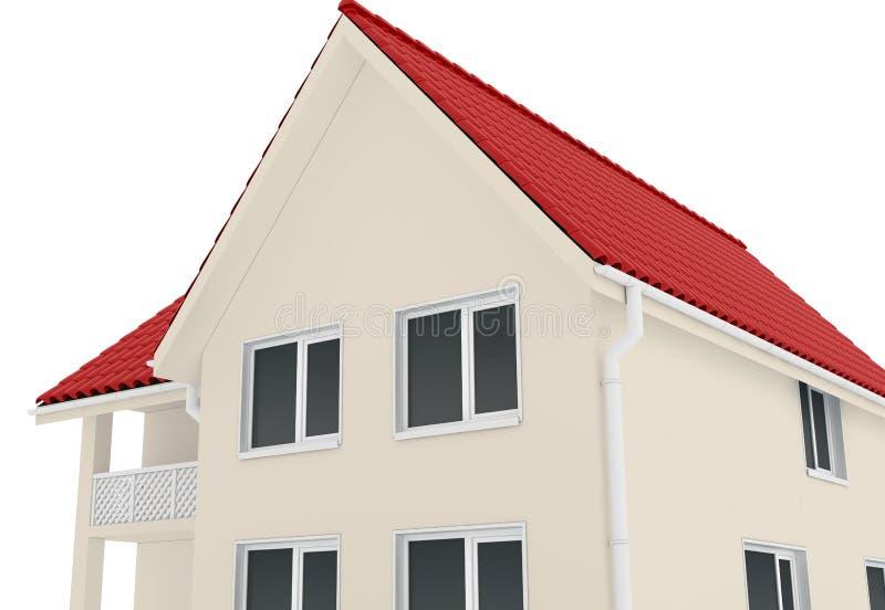 Εξοχικό σπίτι στο μπεζ χρώμα απεικόνιση αποθεμάτων