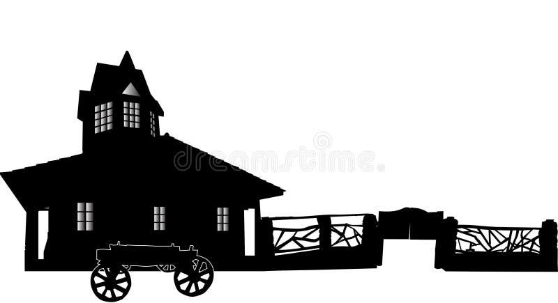 Εξοχικό σπίτι τη φραγή που απομονώνεται με στο λευκό διανυσματική απεικόνιση