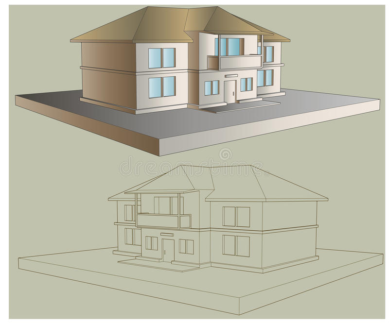 Εξοχικό σπίτι δύο πατώματα απεικόνιση αποθεμάτων