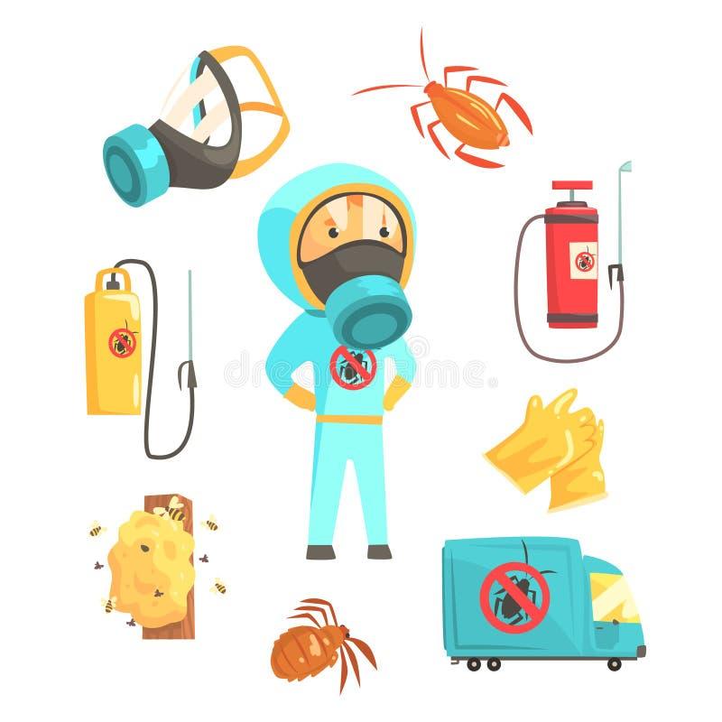 Εξολοθρευτές των εντόμων στο χημικό προστατευτικό κοστούμι με τον εξοπλισμό και των προϊόντων καθορισμένων Κινούμενα σχέδια εξυπη διανυσματική απεικόνιση