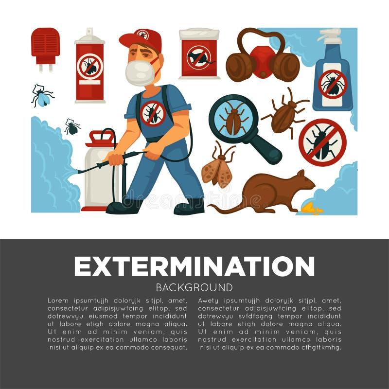 Εξυπηρέτηση ελέγχου εξολόθρευσης ή παρασίτων και υγειονομική εσωτερική αφίσα σχεδίου απολύμανσης διανυσματική επίπεδη απεικόνιση αποθεμάτων