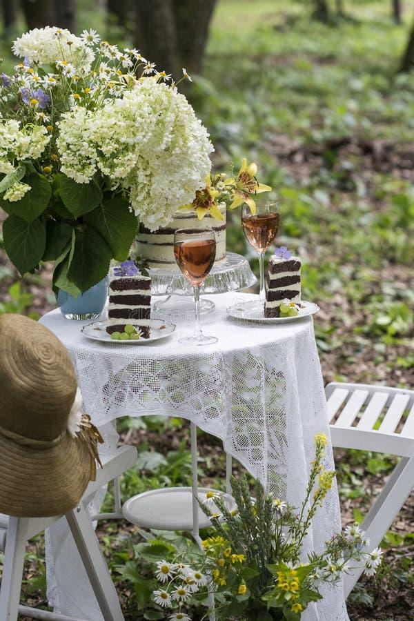 Εξυπηρέτηση ενός ρομαντικού πικ-νίκ με το κέικ στοκ φωτογραφία με δικαίωμα ελεύθερης χρήσης