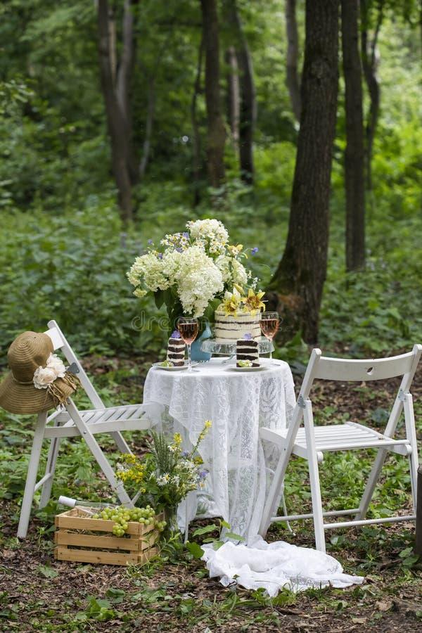 Εξυπηρέτηση ενός ρομαντικού πικ-νίκ με το κέικ στοκ εικόνες