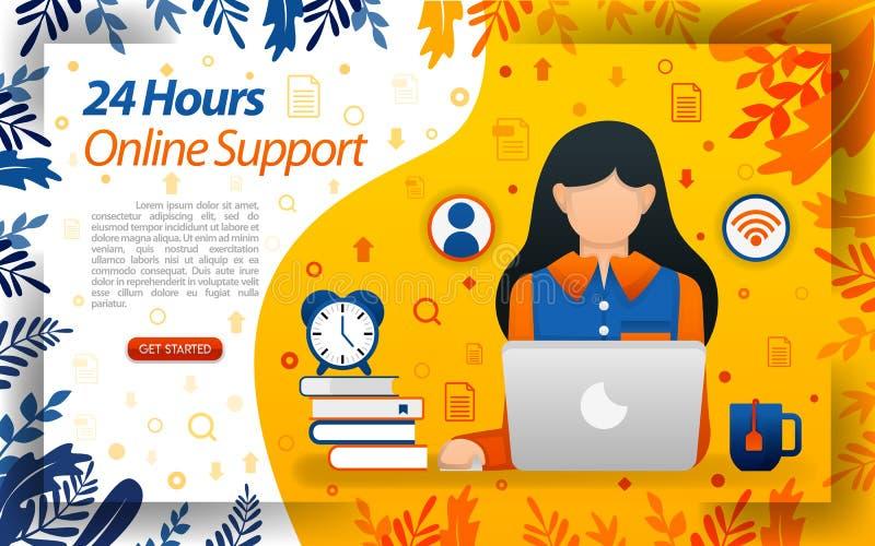 εξυπηρέτηση πελατών 24 ωρών σε απευθείας σύνδεση hotlink υπηρεσία online για να βοηθήσει τους πελάτες, διανυσματικό ilustration έ ελεύθερη απεικόνιση δικαιώματος