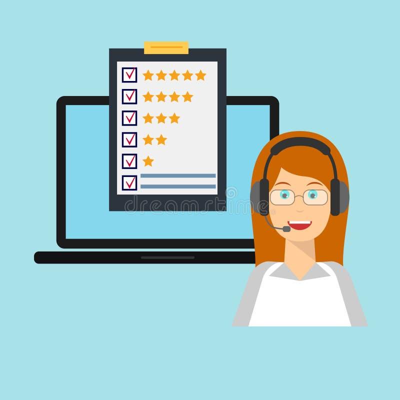 Εξυπηρέτηση πελατών, θηλυκό, lap-top διανυσματική απεικόνιση