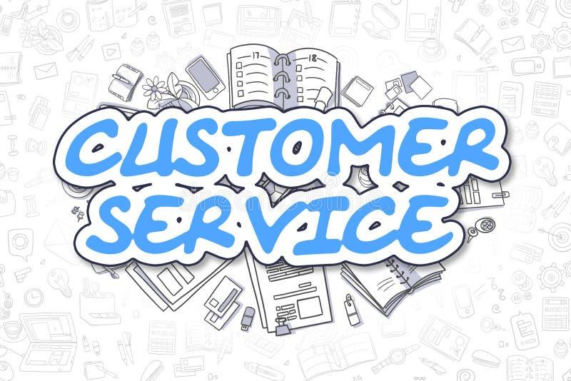 Εξυπηρέτηση πελατών - μπλε κείμενο Doodle χρυσή ιδιοκτησία βασικών πλήκτρων επιχειρησιακής έννοιας που φθάνει στον ουρανό ελεύθερη απεικόνιση δικαιώματος