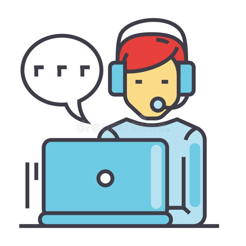 Εξυπηρέτηση πελατών υποστήριξης, άτομο με τον υπολογιστή και κάσκα, έννοια συνομιλίας πελατών απεικόνιση αποθεμάτων