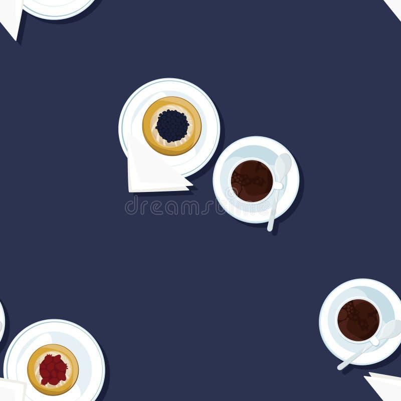 Εξυπηρετούμενη πίτα καφέ και φρούτων ελεύθερη απεικόνιση δικαιώματος