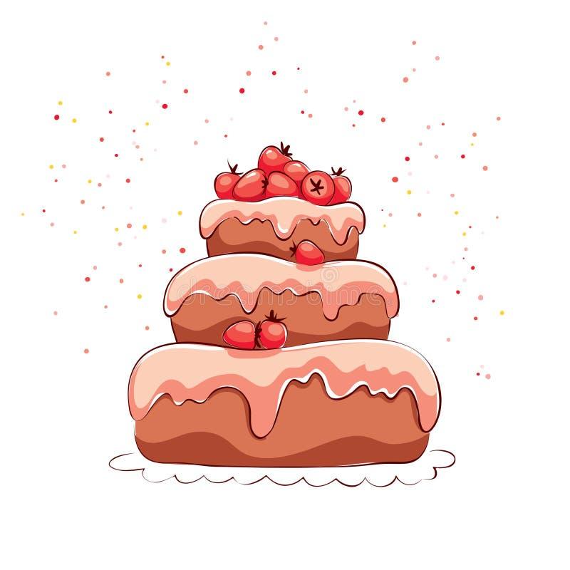 εξυπηρετούμενο λευκό φραουλών κέικ ανασκόπησης πιάτο απεικόνιση αποθεμάτων
