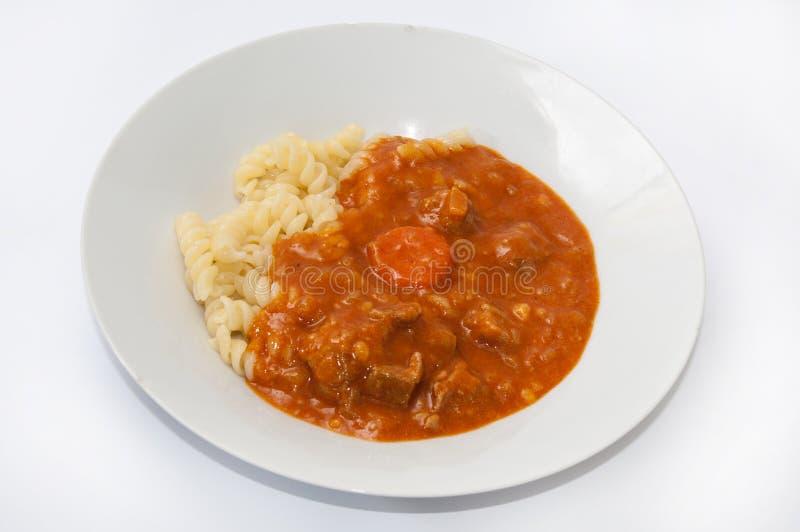 Εξυπηρετούμενο stew με το κρέας και τα μακαρόνια στοκ εικόνα με δικαίωμα ελεύθερης χρήσης