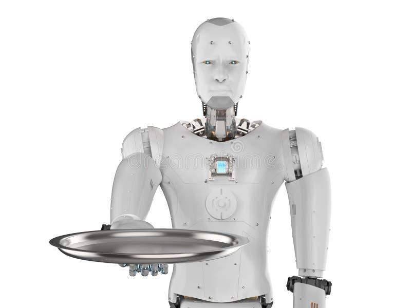 Εξυπηρετώντας δίσκος εκμετάλλευσης ρομπότ ελεύθερη απεικόνιση δικαιώματος