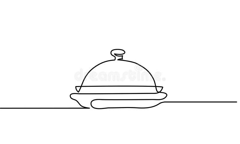 Εξυπηρετώντας εικονίδιο πιάτων τομέα εστιάσεως στο άσπρο υπόβαθρο διανυσματική απεικόνιση