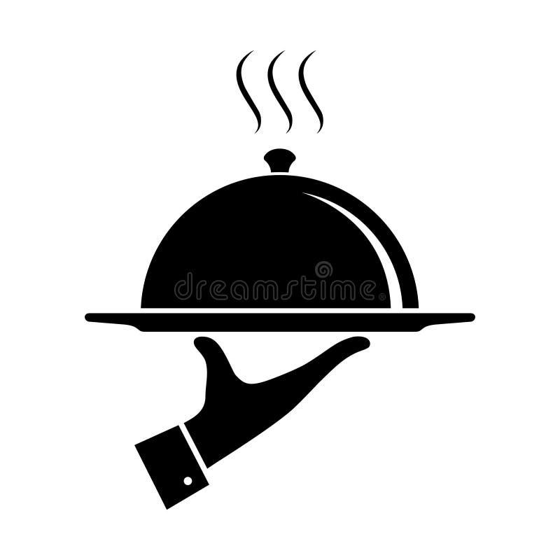 Εξυπηρετώντας εικονίδιο τροφίμων Σύμβολο της υπηρεσίας απεικόνιση αποθεμάτων