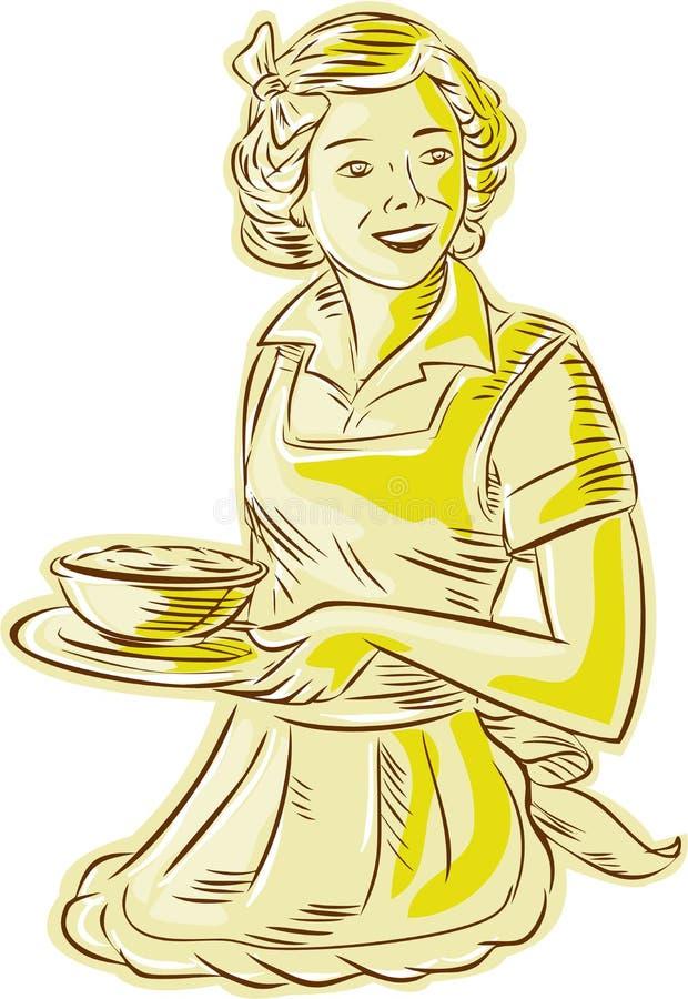 Εξυπηρετώντας κύπελλο νοικοκυρών των τροφίμων εκλεκτής ποιότητας χαρακτική απεικόνιση αποθεμάτων