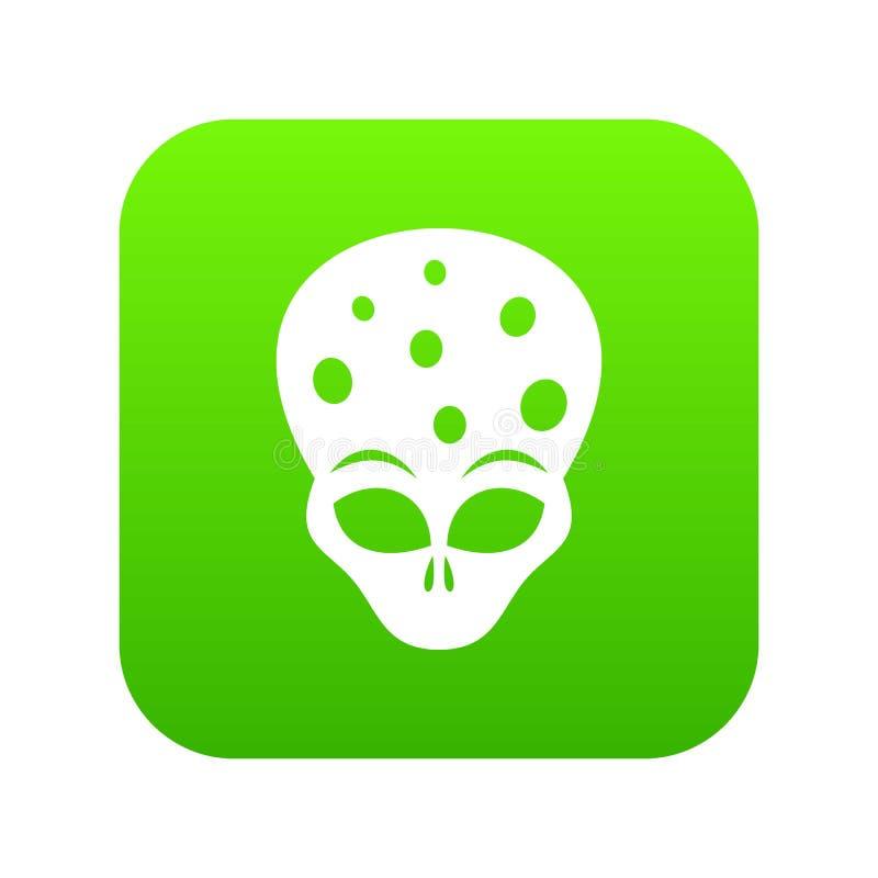 Εξωγήινος αλλοδαπός επικεφαλής ψηφιακός πράσινος εικονιδίων απεικόνιση αποθεμάτων