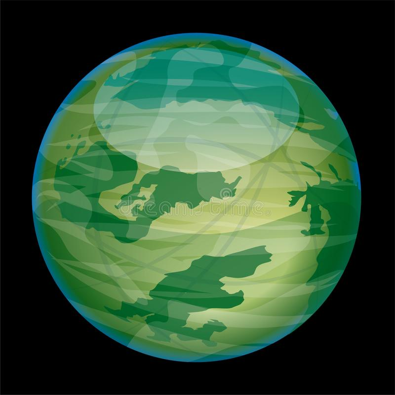 Εξωγήινος πράσινος και λαμπρός πλανήτης που απομονώνεται στο Μαύρο διανυσματική απεικόνιση