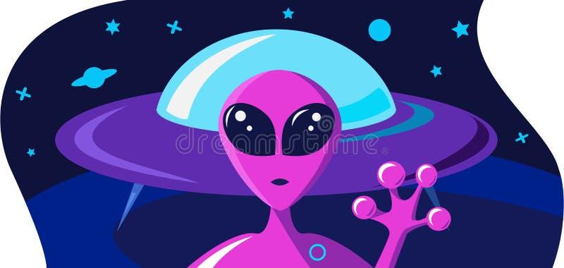 Εξωγήινος χαιρετά την ευπρόσδεκτη έννοια χεριών Κάρτα πρόσκλησης σε ένα διαστημικό θέμα με ένα πορτρέτο ενός πορφυρού αλλοδαπού κ ελεύθερη απεικόνιση δικαιώματος