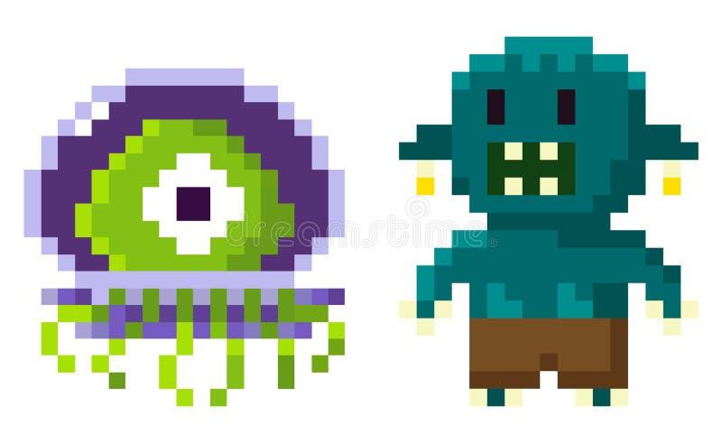 Εξωγήινος χαρακτήρας, διάνυσμα παιχνιδιών εικονοκυττάρου απεικόνιση αποθεμάτων