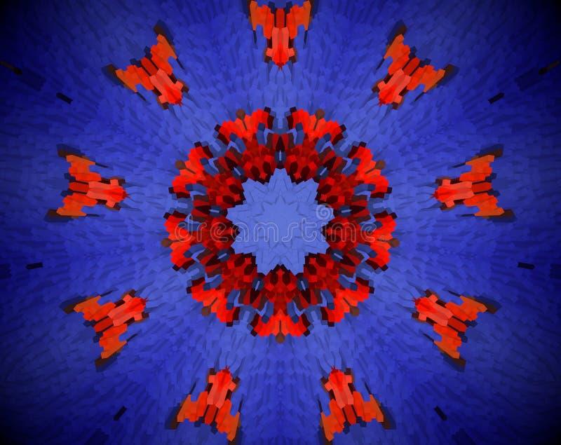 Εξωθημένη περίληψη τρισδιάστατη απεικόνιση mandala διανυσματική απεικόνιση