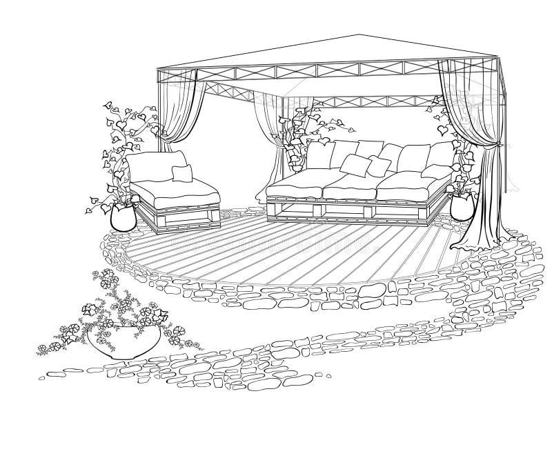 Εξωραϊσμένη ομπρέλα καναπέδων προαυλίων διανυσματική απεικόνιση