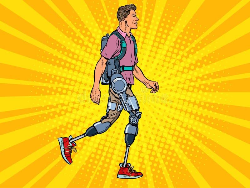 Εξωσκελετός για άτομα με ειδικές ανάγκες Ένας άνδρας χωρίς πόδια βετεράνος βαδίζει αποκατάσταση θεραπείας αποκατάστασης επιστήμη  διανυσματική απεικόνιση