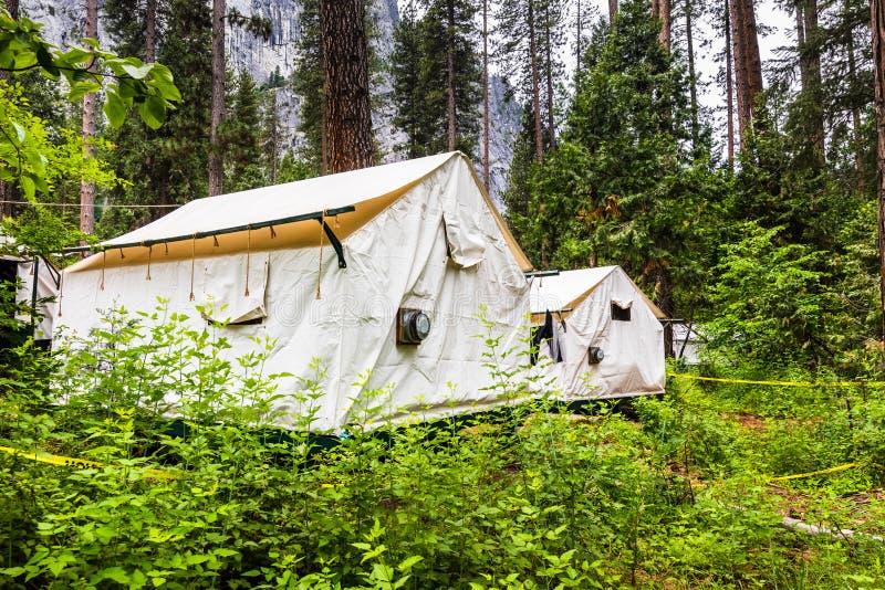 Εξωτερική άποψη των καμπινών σκηνών καμβά στο κάρρυ στρατόπεδων που βρίσκεται σε ένα πολύβλαστο δάσος στην κοιλάδα Yosemite, εθνι στοκ εικόνα με δικαίωμα ελεύθερης χρήσης