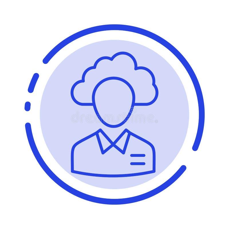 Εξωτερική ανάθεση, Cloud, Ανθρώπινο, Διαχείριση, Διαχειριστής, Άτομα, Εικονίδιο γραμμής με μπλε κουκκίδα πόρου ελεύθερη απεικόνιση δικαιώματος