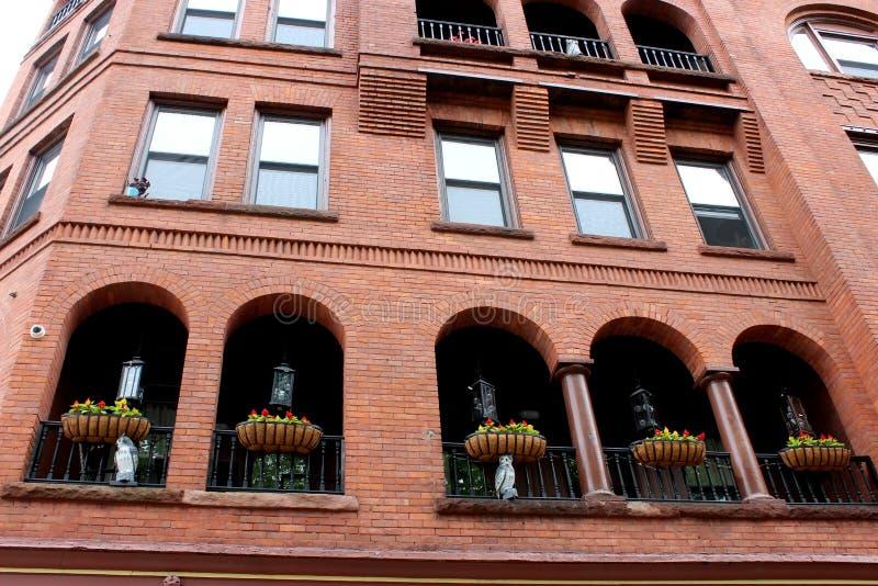 Εξωτερική αρχιτεκτονική του ιστορικού κτηρίου, Algonquin, Saratoga, Νέα Υόρκη, 2018 στοκ εικόνες με δικαίωμα ελεύθερης χρήσης