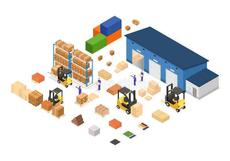 Εξωτερική επιχειρησιακή παράδοση οικοδόμησης αποθηκών εμπορευμάτων διάνυσμα απεικόνιση αποθεμάτων