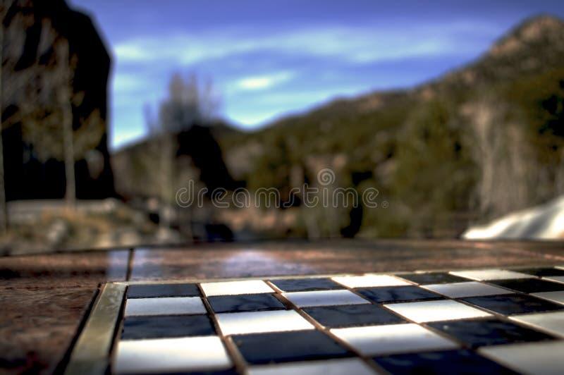 Εξωτερική σκακιέρα μεταξύ των δέντρων στοκ εικόνες