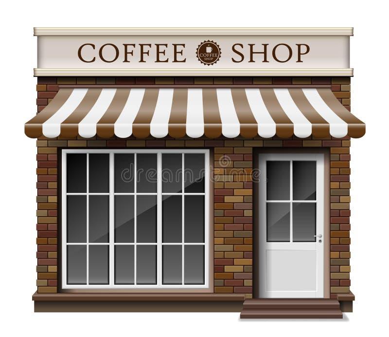 Εξωτερική σύσταση τούβλου καταστημάτων ή καφέδων μπουτίκ καφέ Κενό πρότυπο του μοντέρνου ρεαλιστικού καταστήματος οδών καφέ Μικρό ελεύθερη απεικόνιση δικαιώματος
