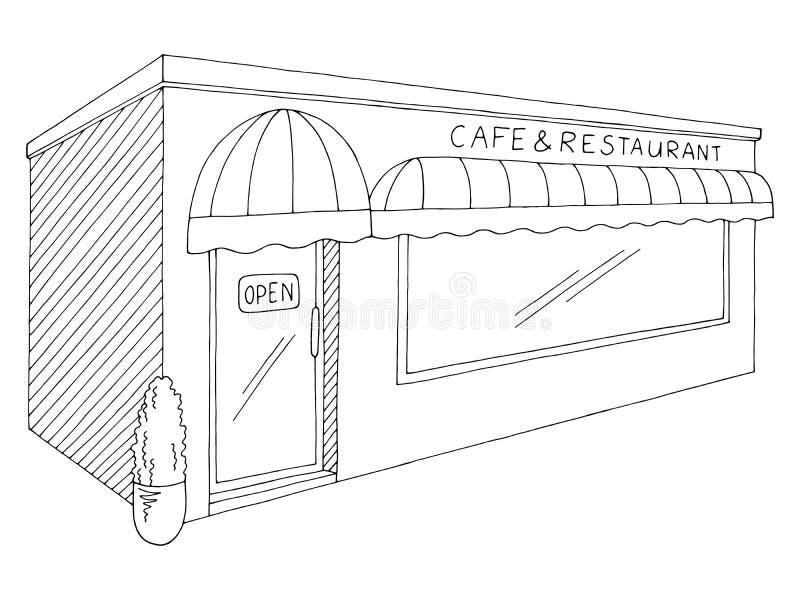 Εξωτερικό γραφικό μαύρο απομονωμένο λευκό διάνυσμα απεικόνισης σκίτσων εστιατορίων καφέδων απεικόνιση αποθεμάτων