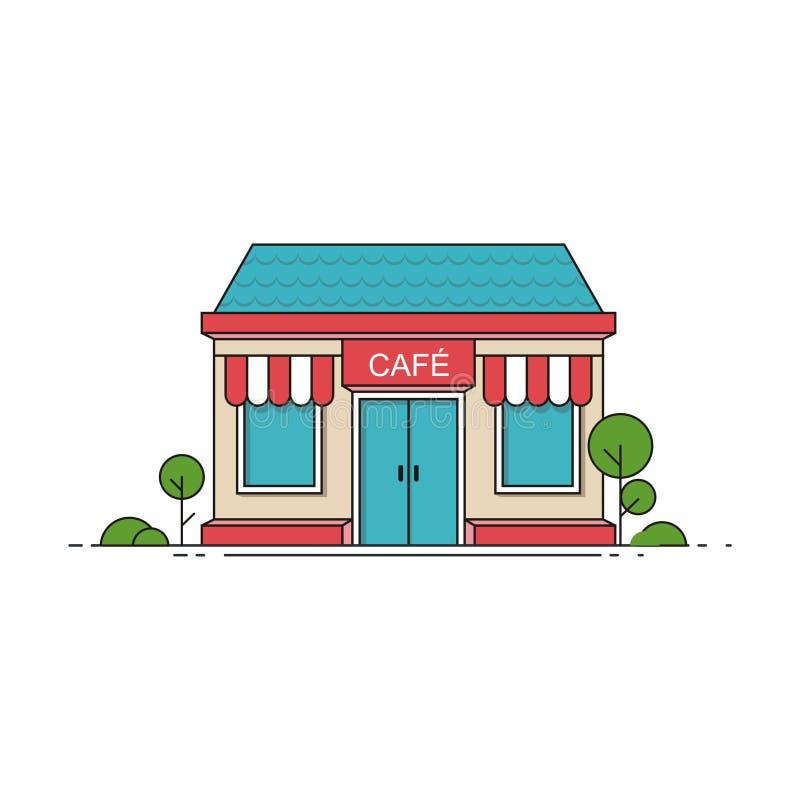 Εξωτερικό κατάστημα καφετεριών Κτίριο εστιατορίου Διανυσματική απεικόνιση σε επίπεδο στυλ ελεύθερη απεικόνιση δικαιώματος