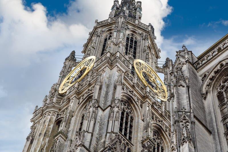Εξωτερικό του καθεδρικού ναού της κυρίας μας στην Αμβέρσα στοκ φωτογραφίες με δικαίωμα ελεύθερης χρήσης