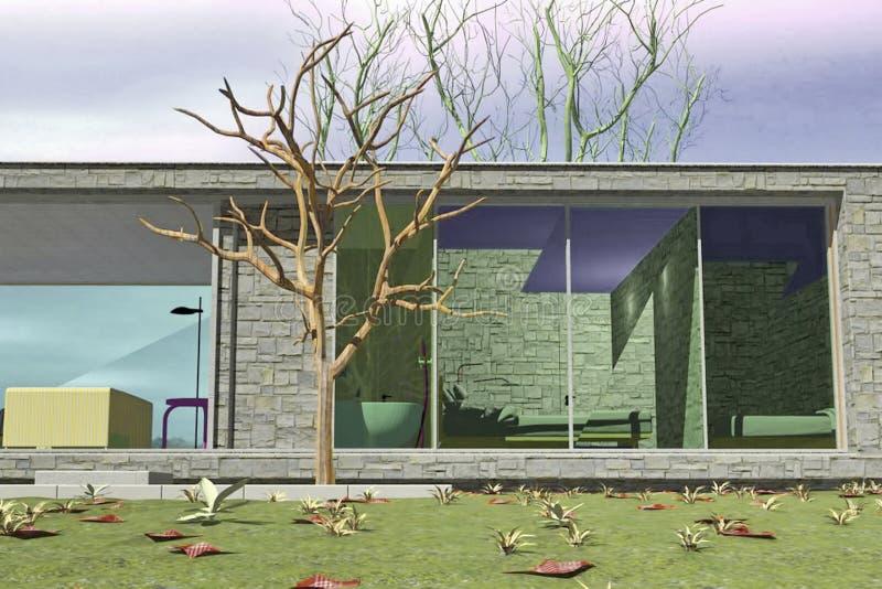 Εξωτερικό του σπιτιού πολυτέλειας διανυσματική απεικόνιση