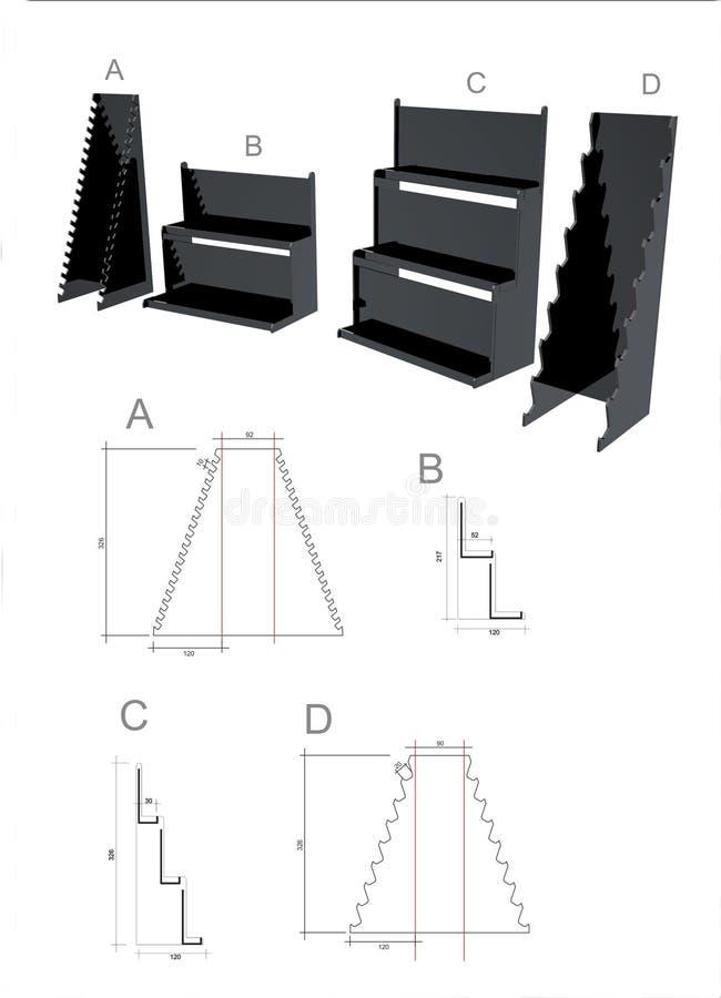 Εξωτερικό των εμβλημάτων στάσεων διασκέψεων ή των γραφικών βάθρων σχεδίου προτύπων διανυσματική απεικόνιση
